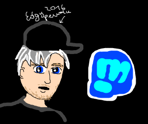 pewdiepie with gray hair and a blue fist