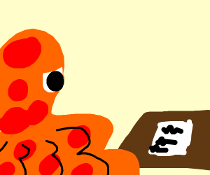 Orange Octopus staring at homework on table