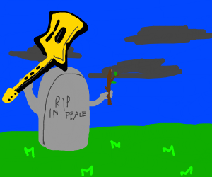 gravestone with stick and guitar
