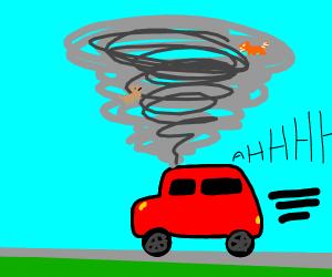 Tornado and car