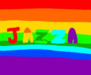 Jazza is gay text w rainbow