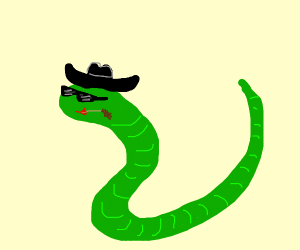 Beautiful snake with a lovely hat and glasses