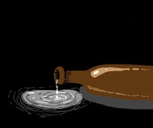 Brown bottle spilling silver substance