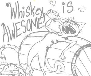 cat says whisky is awesome while drinking