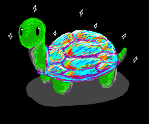 Turtle with rainbow shell