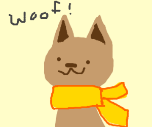 A happy dog with a yellow scarf