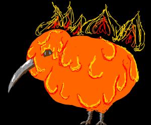 Maga Kiwi (bird) on fire