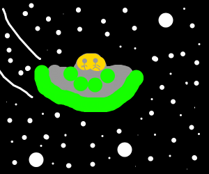 UFO flying through space