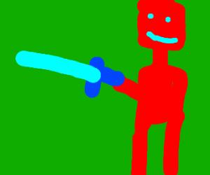 a robot brandishing a diamond sword