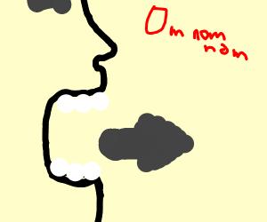 man eating right arrow