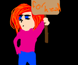 "Red head parading with a sign ""for Head"""