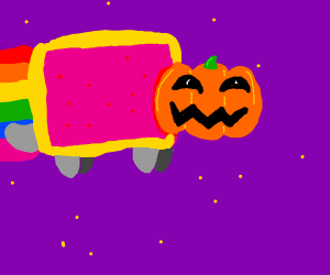 Nyan cat with halloween pumpkin on its face
