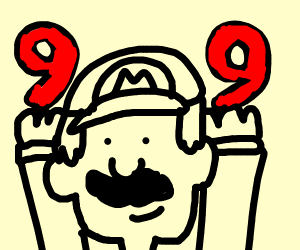 Mario holding up two 9's