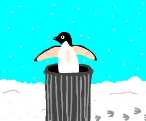 penguin in the trash
