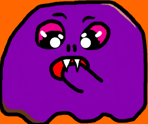 Purple blob eats hand