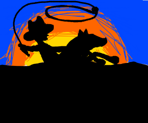 cowboy on a horse throwing a lasso in desert