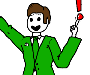 Man in lime-green jacket balancing a '!'