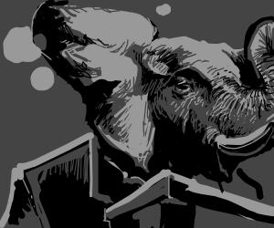 Elephant giving a Presentation