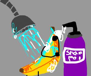 Banana takes shower