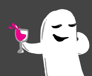Bougey ghost drinks red wine