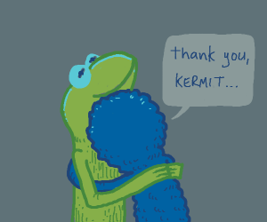 Kermit getting hugged by Grover