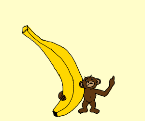 small, angry monkey with banana