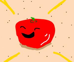 A tomato getting a tan