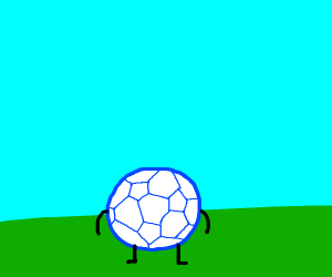 Blue soccer ball with limbs