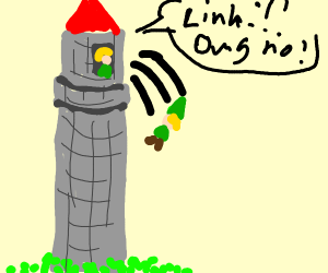 Link from Zelda falling out of a tower