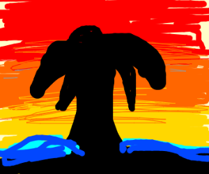 Palm tree silhouette on the beach at sunset