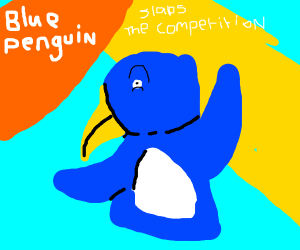 Blue penguin got a smash invitation