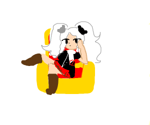 Junko enoshima sitting on throne, despaired