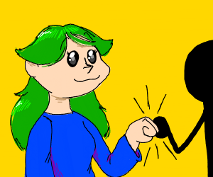 Fist bump with a green-haired girl.