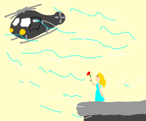 Woman Giving a Rose to a Helicopter