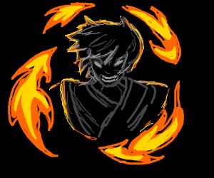 an angry firebender