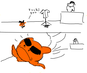 Orange monster insults a jacket and steals it