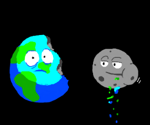 The moon ate half of the earth