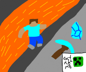 steve falls in lava while mining diamonds