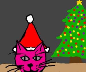 Pink cat w/ a Santa hat + Christmas tree