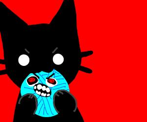 black cat attacks living yarn