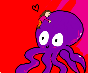girl loves purple octopus