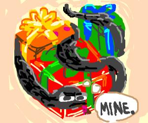 black snake steals christmas presents