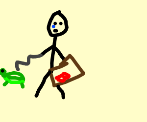 a stickman with a can of beans as a pet