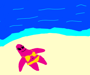 Patrick in a bikini getting a tan