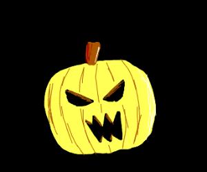 Scary yellow pumpkin