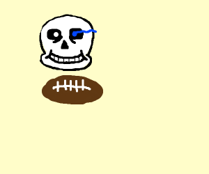 A skull hovering over a football