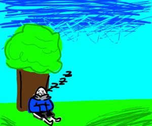 Skeleton sleeping under the tree