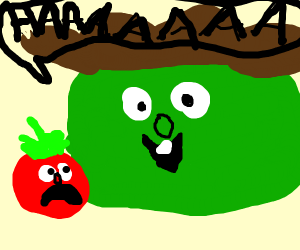 larry the cucumber expands, bob is horrified
