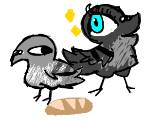 Two birds with a baguette between them