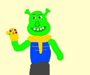 Shrek has the Infinity Gauntlet